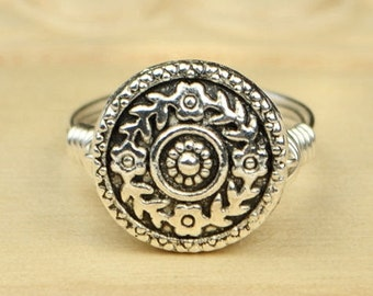 Flower Ring- Sterling Silver Filled Wire Wrapped Ring with Floral Metal Bead - Any Size - Size 4, 5, 6, 7, 8, 9, 10, 11, 12, 13, 14
