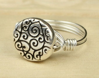 Wire Wrapped Ring- Sterling Silver Filled Wire with Round Swirl Bead - Any Size - Size 4, 5, 6, 7, 8, 9, 10, 11, 12, 13, 14