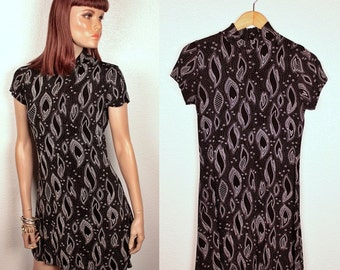 25% OFF SALE // 1990s grunge spandex dress // abstract print // mock neck