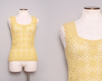 Boho Crochet Top / 80s Yellow Sleeveless Top / Medium