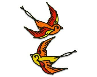 Birds - Stained glass window sticker - home decoration - glueless stickers - suncatcher - handmade sticker design