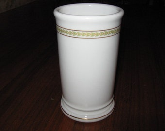 Buffalo China Vase with Green Leaves Marked CIX