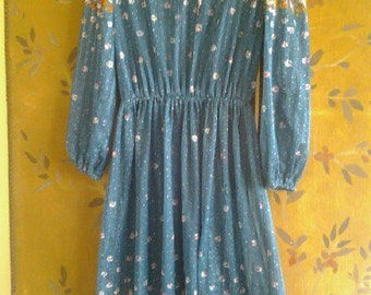 80s sheer flowered dress