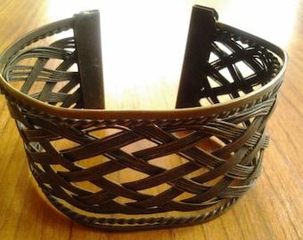 Vintage metal woven cuff bracelet
