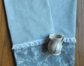 2 Victorian Gray Dish Towels, Tea Towels, Farmhouse Kitchen Gray Roses