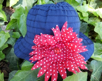 Navy Toddler Summer Sun Hat, 4th of July, Beach Hat, Ladybugs and Polka Dots
