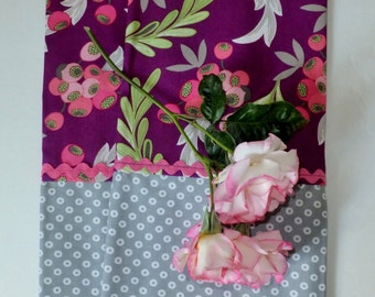 Purple Berries with Gray Donut Tea Towels ~ Set of 2