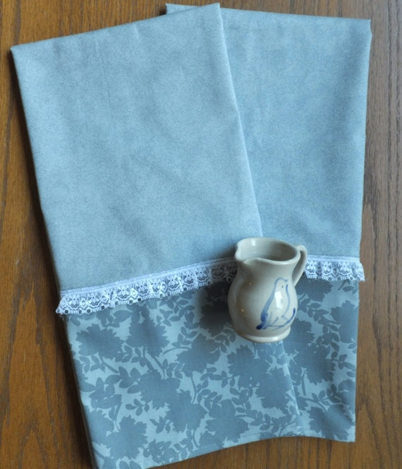 Grey Dish Rags: Items Similar To Victorian Gray Rose Garden Dish Towels