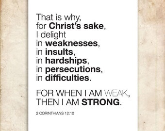 Printable Christians Scripture Print. 2 Corinthians 12:10. Strength and Weakness. 8x10in. DIY. Bible Verse.