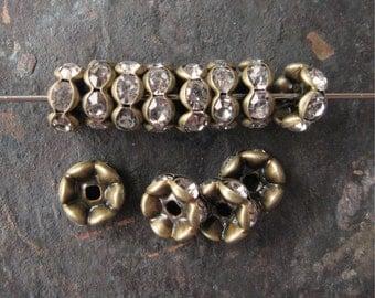 8mm Wavy Rhinestone Rondelle Beads Brass OX Clear Czech Glass (12)