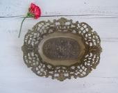 MOD DEP Ornate Bowl, Oval Filigree Display Bowl Silver Plated, Art Nouveau Decorative Dish, Victorian Country Livingroom Decor, Wedding gift