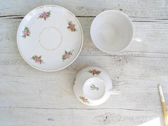 Soviet white Porcelain pink Floral Teacup Set, Gold rimmed tea cup china Set, Victorian porcelain tableware, Retro Shabby Chic Table decor