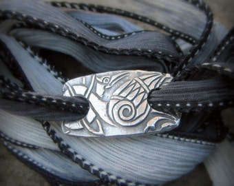 Celtic Heron Bracelet - Celtic Knot- Artisan Handcrafted with Recycled Silver and Hand Dyed Silk