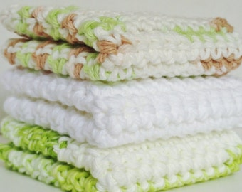 Crocheted Cotton Washcloths Dishcloths Gift under 20 dollars Set of 3 Lime White & Beach Dune