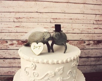Manatee wedding cake topper-Beach wedding-Manatee lover-Beach wedding cake topper