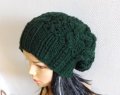 Handmade Knit Cable Hat Beanie Knit  Slouchy Hat Beanie Large for Men / Women DARK GREEN  Baggy cabled Slouchy hat Warm hat