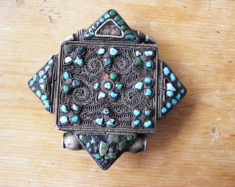 Tibetan Ba'Gau Amulet Case, Silvered Metal, Turquoise and Stones 19th century