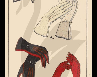 Reproduction Ladies Gloves Sewing Pattern Size 6 - 8 All sizes included - PDF