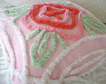 "PINK Vintage Chenille Accent Pillow - Pink, Red, White and Jadeite Green Floral Vintage Chenille and 12"" Decorator Insert"