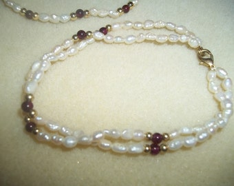 Two Dainty Stringed Pearl Bracelets With Gold & Mauve Beads