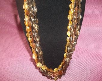 Vintage Four Strand Acrylic Autumn Leaf Necklace