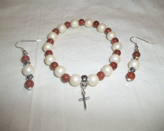 White Faux Pearls & Golddust Beaded Cross Charm Bracelet with Matching Earrings Set