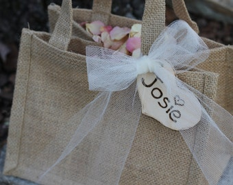 Burlap Flower Girl Basket Personalized Heart Tulle Ribbon, Rustic Wedding, Shabby Chic Wedding
