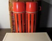 Vintage Retro Plaid Thermos Picnic Set