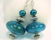 Teal & Black Glass Earrings with Glass Pearls and Bali Silver