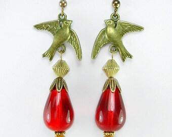 Brass Birds, Bright Red Lampwork Drops Earrings