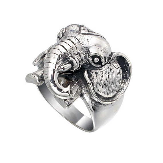 Heavy Weight Elephant Face 925 Sterling Silver Ring, Big Size Elephant Ring