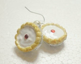 Cherry Bakewell Earrings. Polymer Clay.