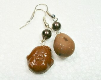 Chocolate Chick And Mini Egg earrings . Polymer clay.