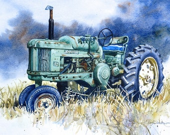 "John Deere 50 Tractor print of Original Painting 5""X7"" Matted 8""X10'"