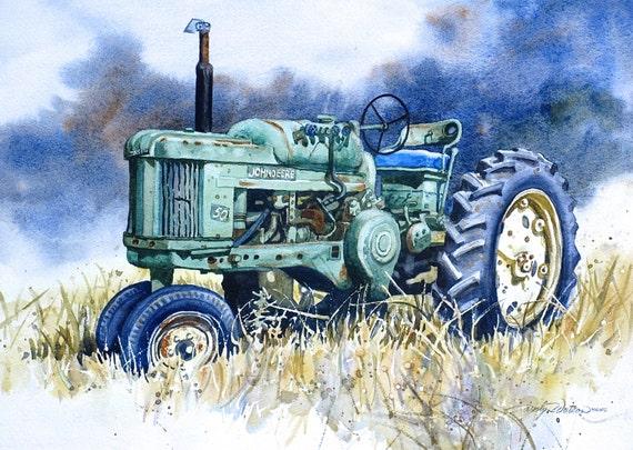 Jd Tractor Paint : John deere tractor print of original painting