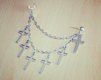 Silver Ear Cuff Crosses