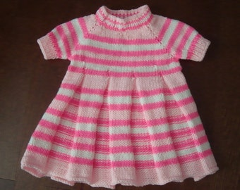 Girl's Dress Handknitted sz 12-18 Mo Sweater-Dress Pinks/White Stripe
