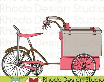 Retro Ice Cream Trike Bikes Digital Clip Art Vintage Bicycles Clipart