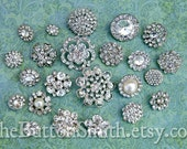 Rhinestone Buttons Mix - Popular Collection - 101- 15 piece set