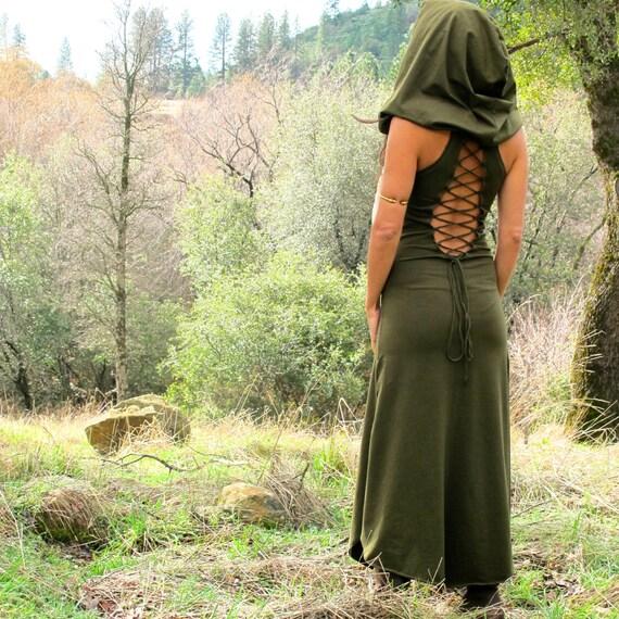 Nienna Hood Dress - Lace Up Open Back - Elven Sexy Hippie Dress - Bohemian Princess