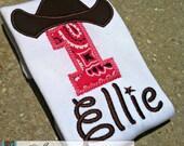 Cowboy or Cowgirl Birthday Shirt - You Customize Bandana Color & Name
