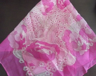 Pink and white  flower scarf HALF Off WAS: 15.00 NOW 7.50