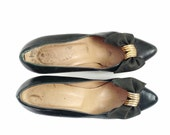 VINTAGE Black Heels with Bow