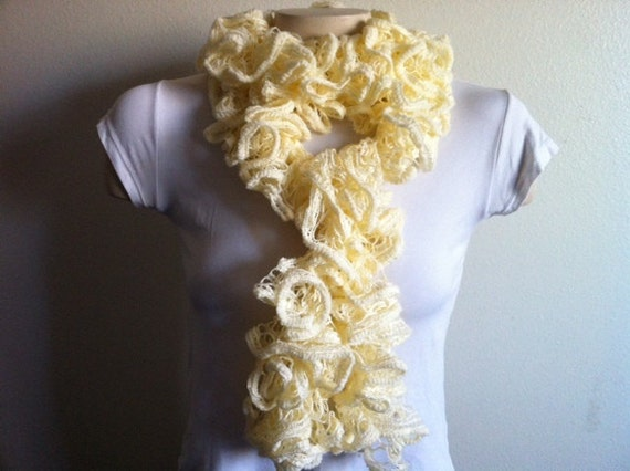 Cream Ruffle Scarf, Hand Knit Soft Frilly scarf, lace scarf, Christmas Gift For Her, USA Seller