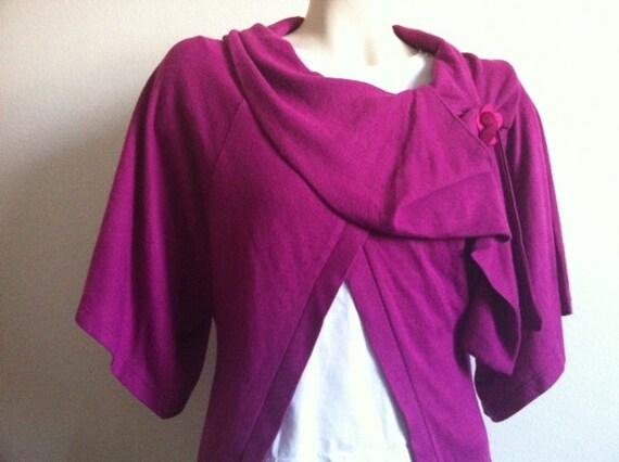 Kimono Jacket, Sweater, Poncho Shrug in Fuchsia, Women Clothing, Women Sweater