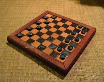 English draughts or American checkers - Chess board - with 2x12 Eye df Horus bottons are gold and black - 1x1 inch tiles - Made to order