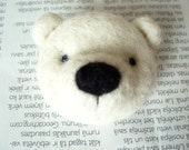 Needle felted brooch, White bear, white wool, gift for friend, in the gift box