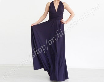 Convertible Wrap Chameleon Maxi Dress Aubergine  Evening  Prom plus size maternity custom