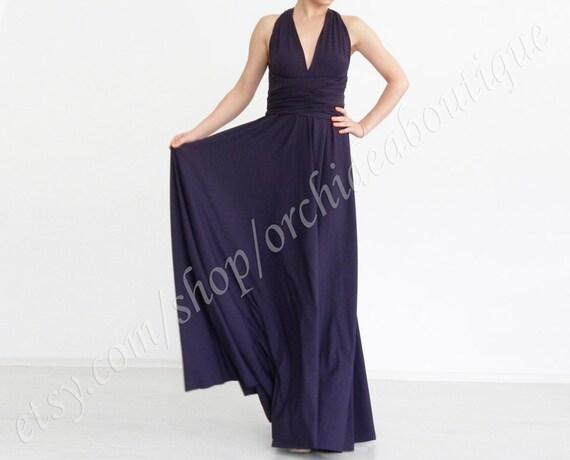 Infinity dress Evening Convertible Wrap Chameleon Maxi Dress Aubergine  Evening  Prom plus size maternity custom