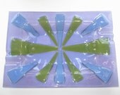 "Large Signed Higgins Fused Art Glass ""Siamese Purple"" Blue Green Starburst Tray Platter Dish 14"" - MINT"